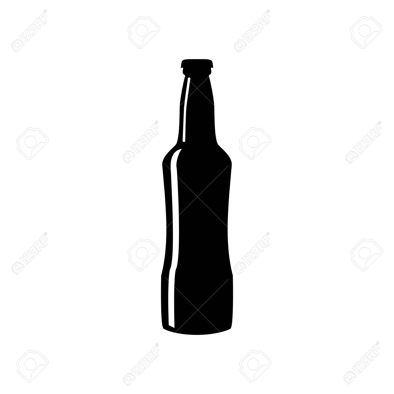 Beer bottle sign. Flat style black icon on white..