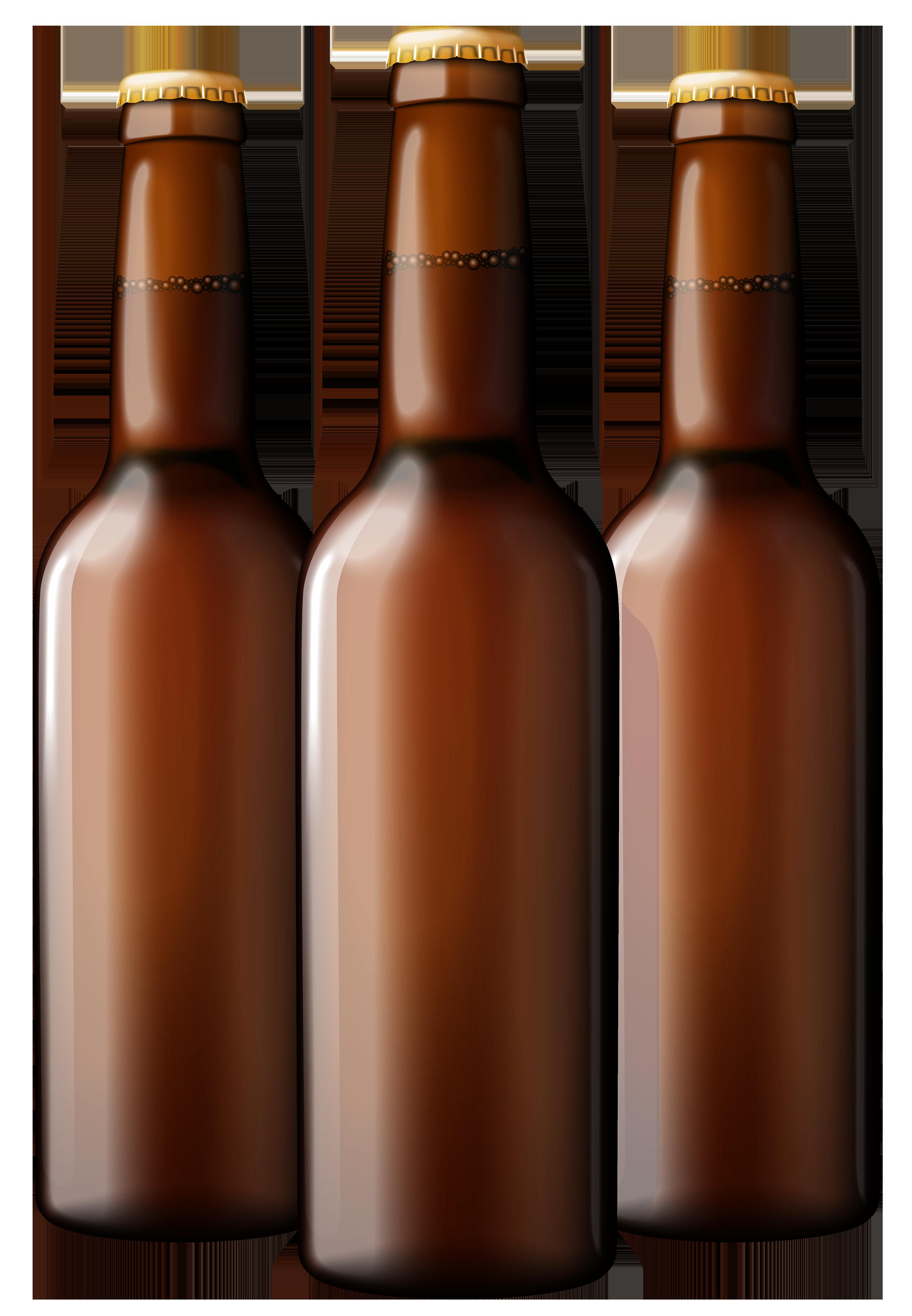 Brown Beer Bottles PNG Clipart.