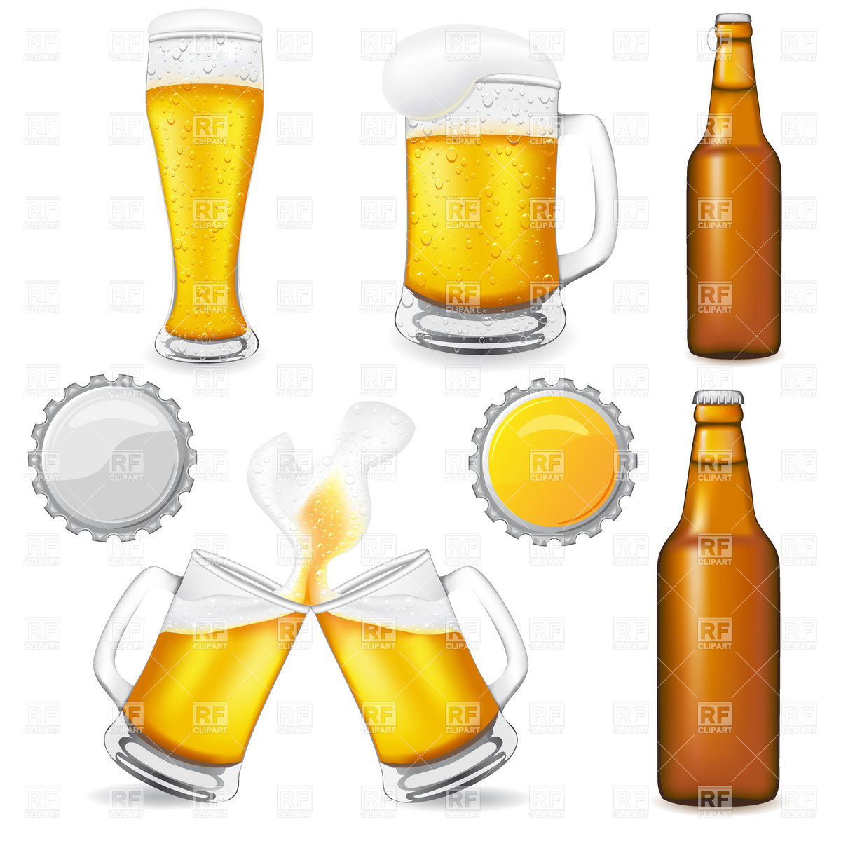 Brown beer bottle, glass and mugs Vector Image #19769.