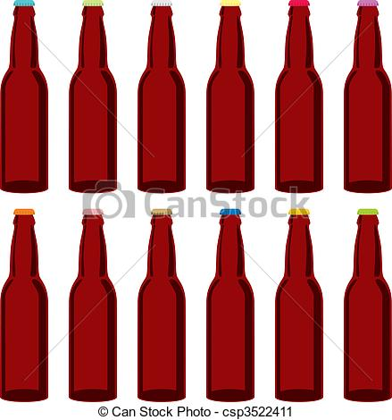 Vector Clip Art of isolated beer bottles set.