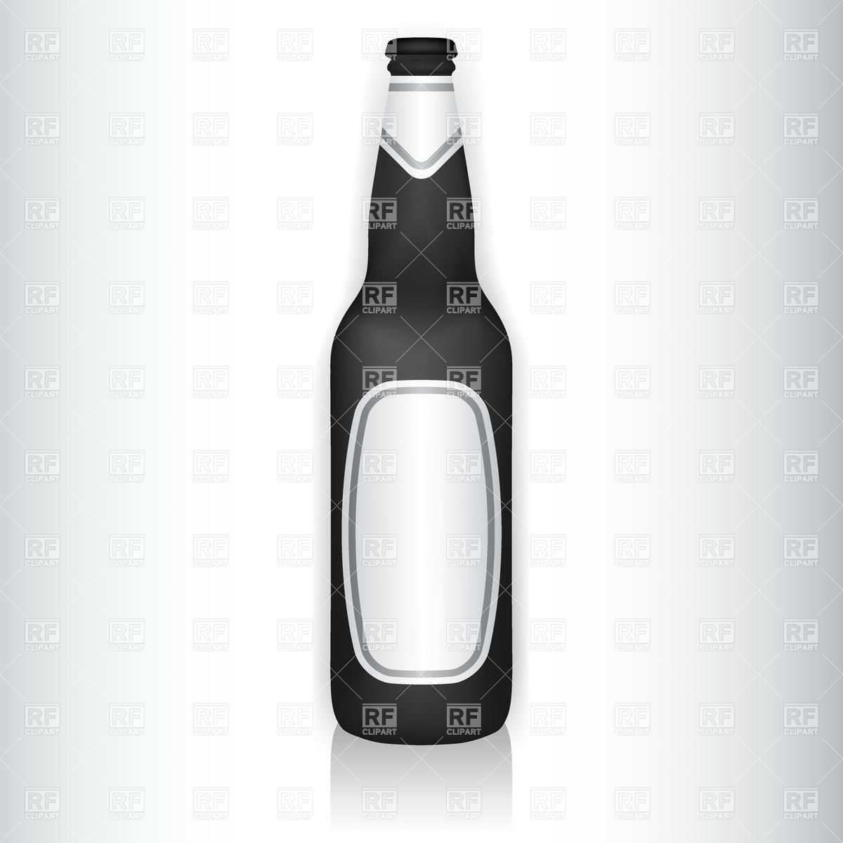 Black beer bottle with blank stickers Vector Image #16405.