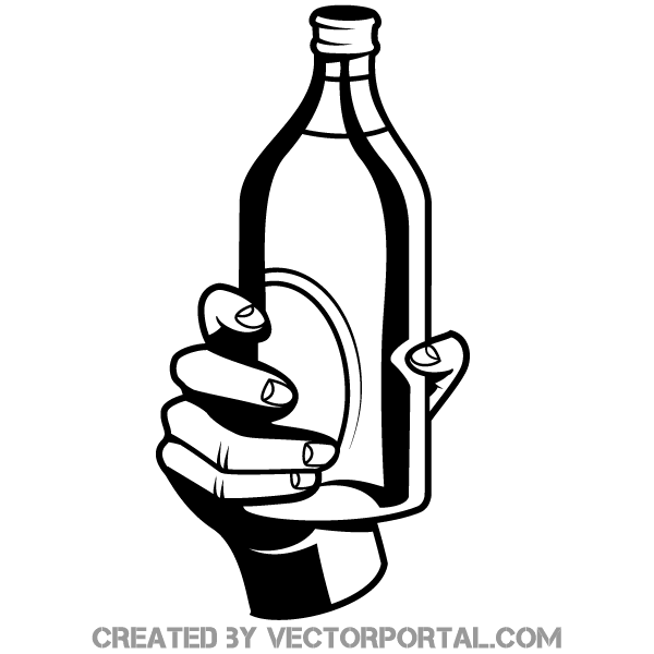 Bottle in Hand Free Vector.