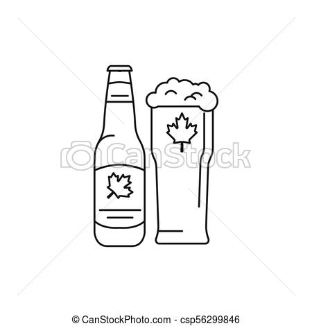 Bottle of beer icon, outline style.