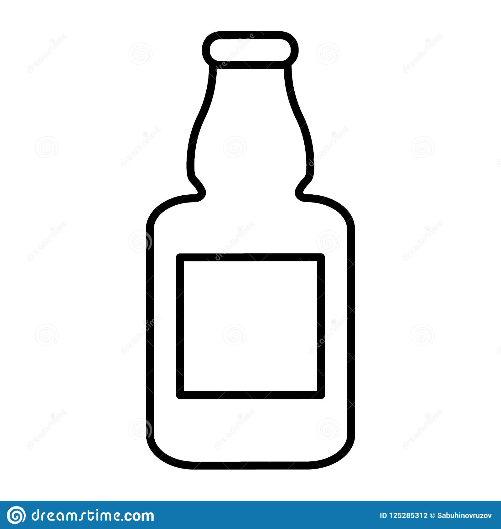 Beer Bottle Thin Line Icon. Flask Of Beer Vector Illustration.
