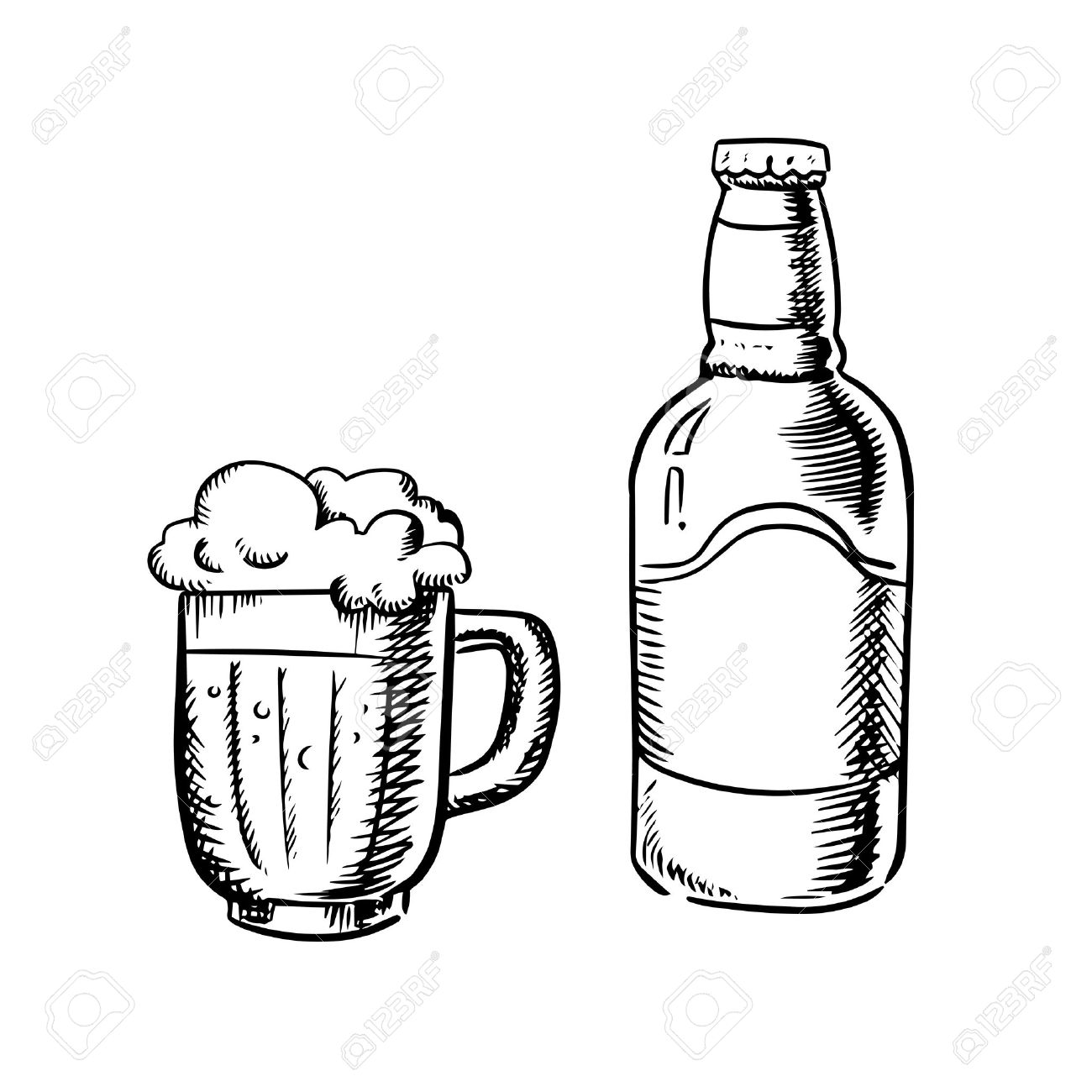 Beer bottle and filled tankard with overflowing froth head,...