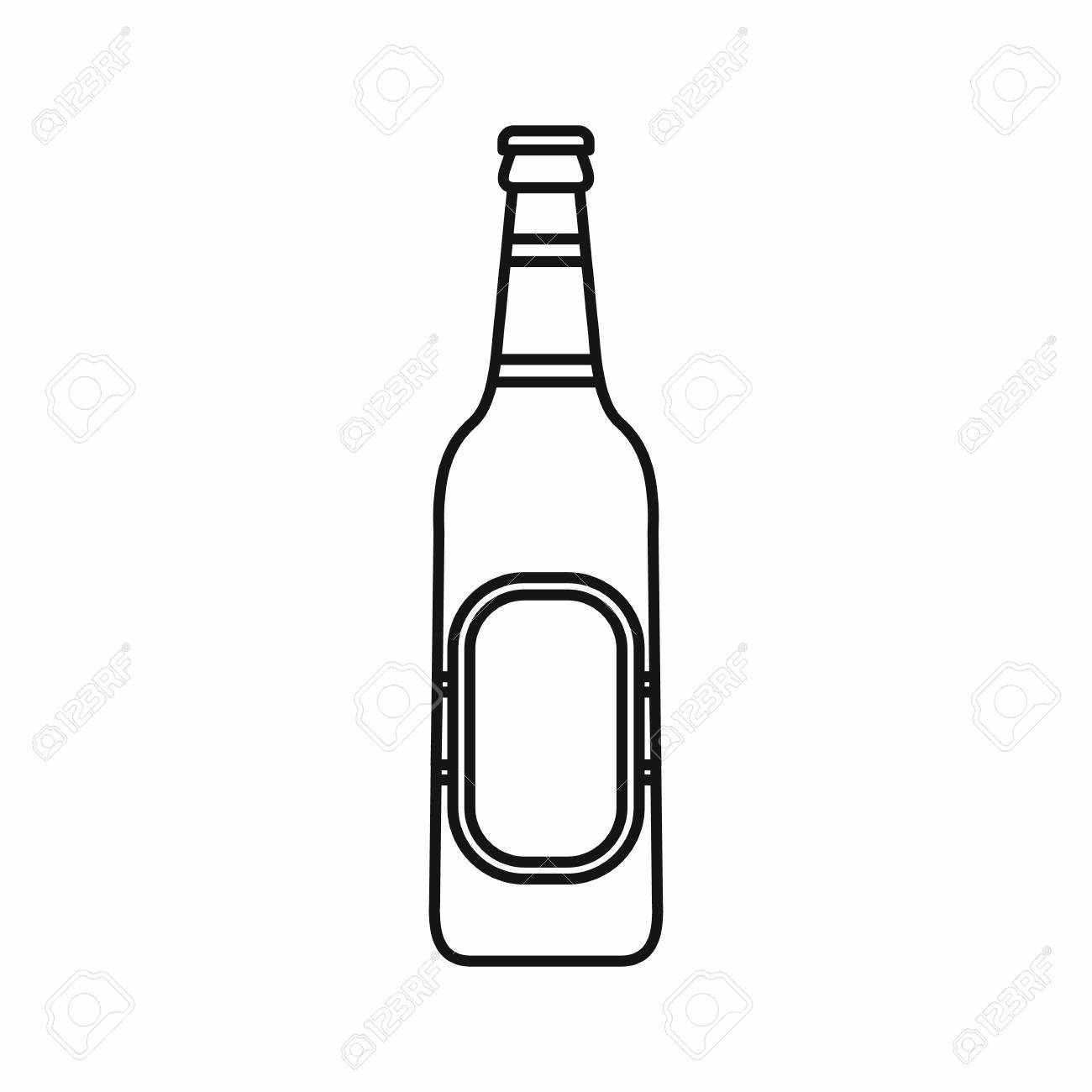 Bottle of beer icon in outline style isolated vector illustration.