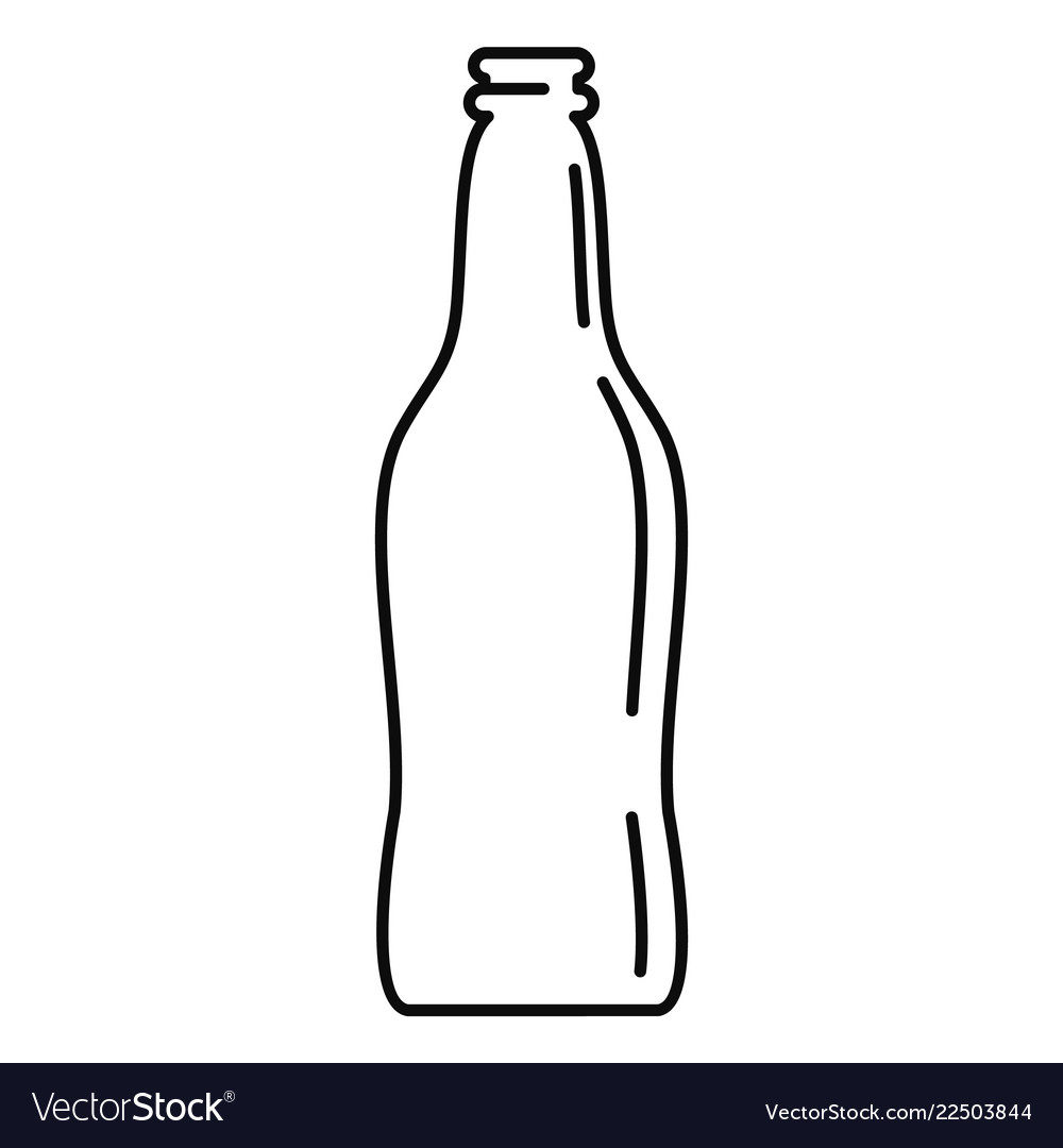 Glass beer bottle icon outline style.