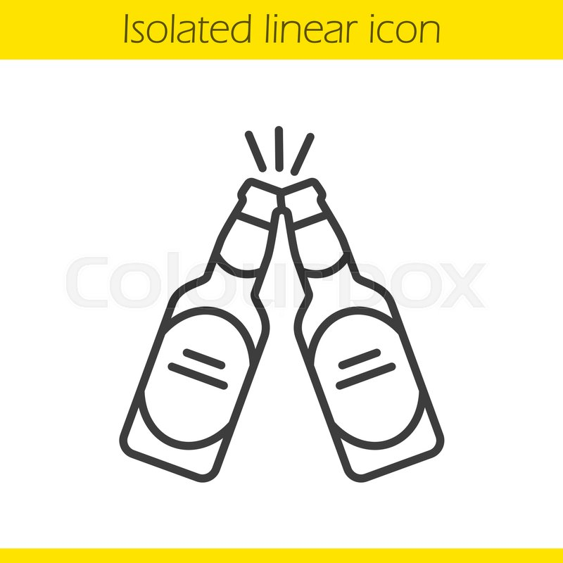 Toasting beer bottles linear icon..