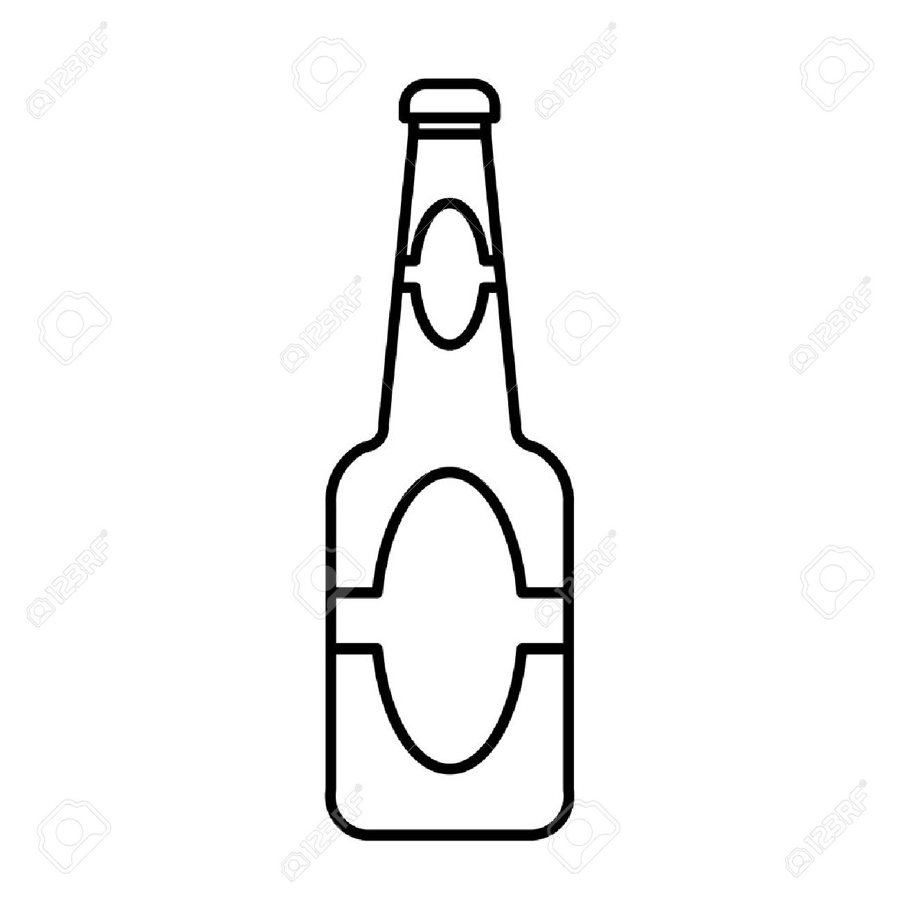 beer bottle outline vector.
