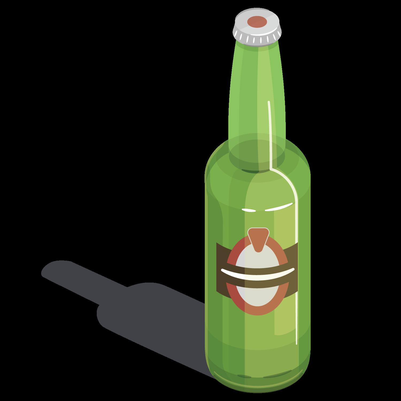 Beer bottle Wine Glass.