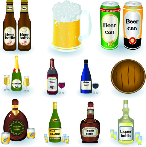 Beer cans and beer bottles vector Free vector in.