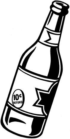 Beer bottle clip art black and white.