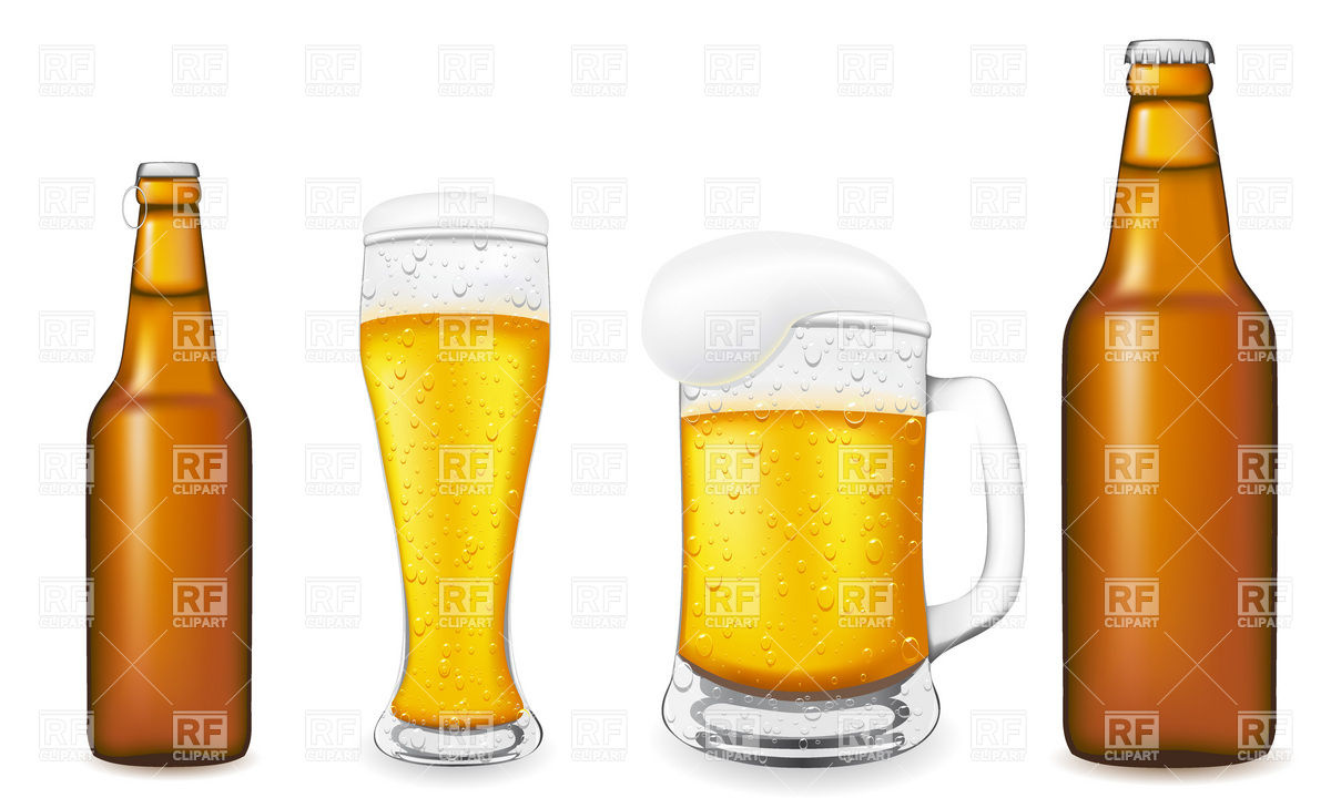 Beer in glass and brown bottle Vector Image #19136.
