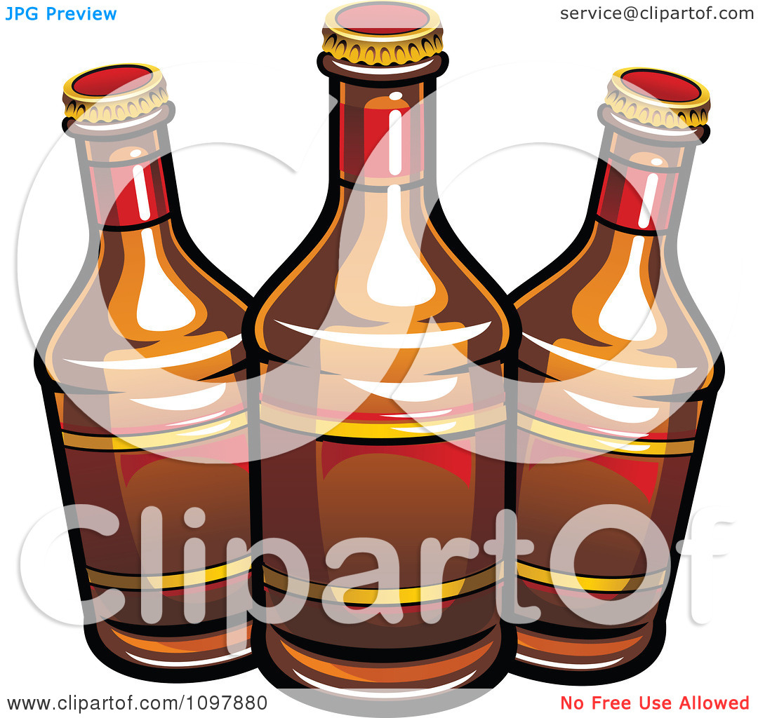 Clipart Three Beer Bottles With Brown Labels.