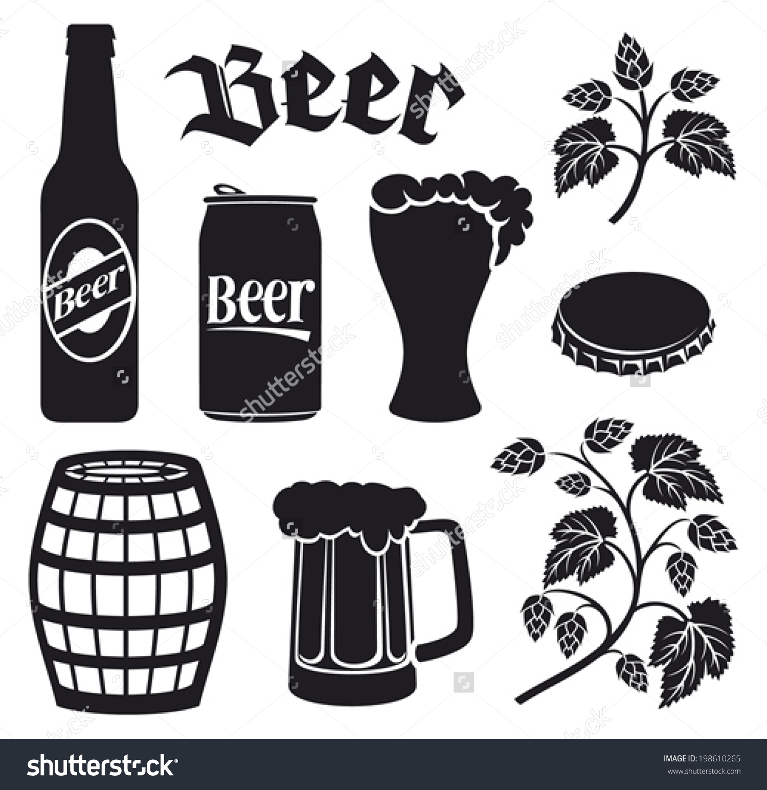 Beer Icons Set Hops Leaf Wooden Stock Vector 198610265.