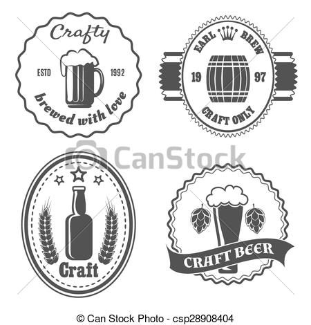 Vector Clipart of Craft beer brewery badges and logo. Vintage bar.