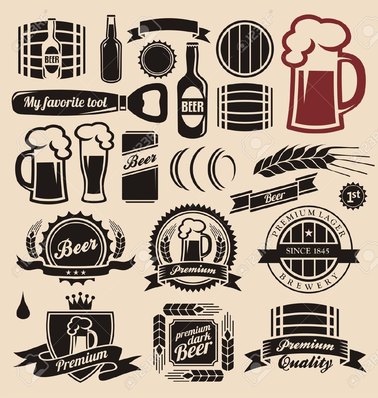 Beer Icons, Labels, Signs, Logo Designs And Design Elements.