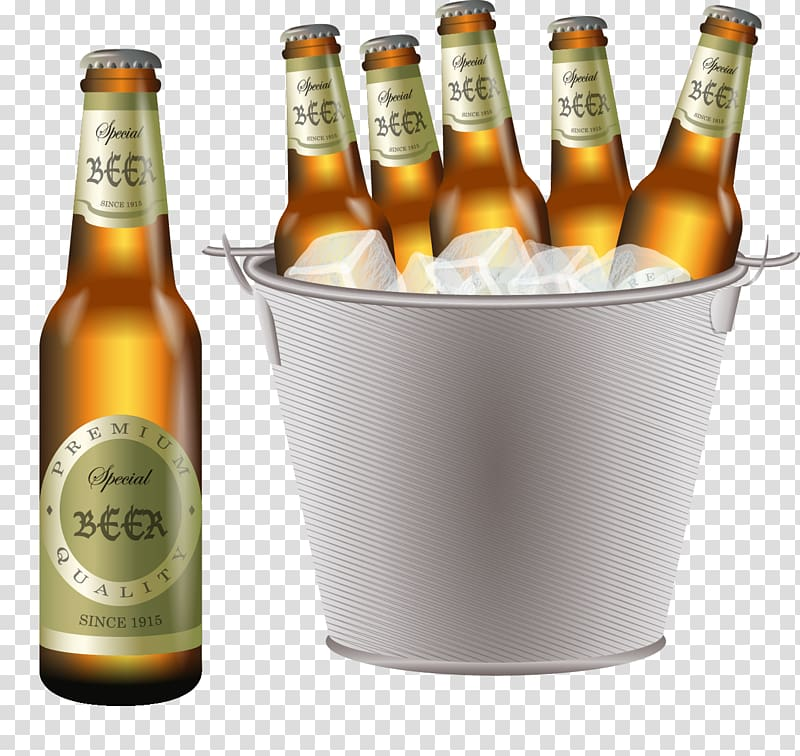 Six Beer bottles with silver bucket illustration, Beer.