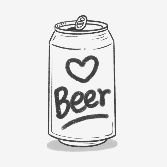 Hand Drawn Cute Beer Can, Alcohol, Craft Beer, Cute PNG Transparent.