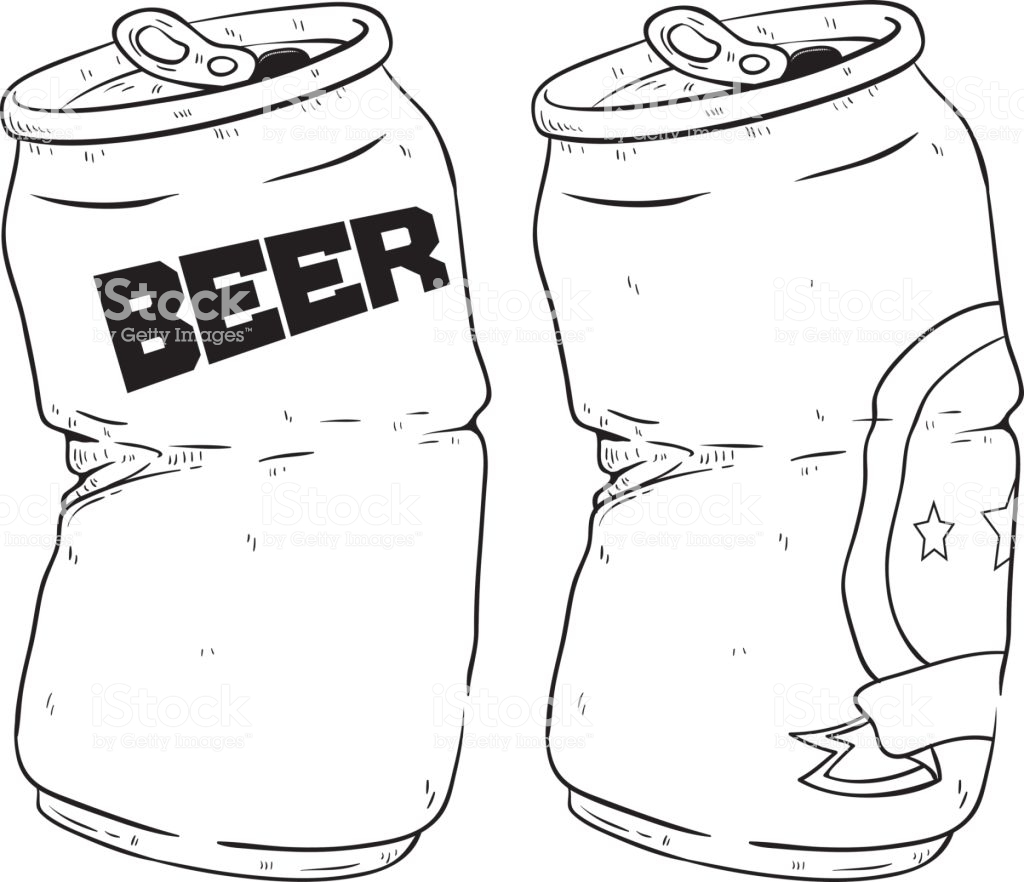 Black And White Of Two Broken Beer Cans Drink With Doodle Or Sketchy.