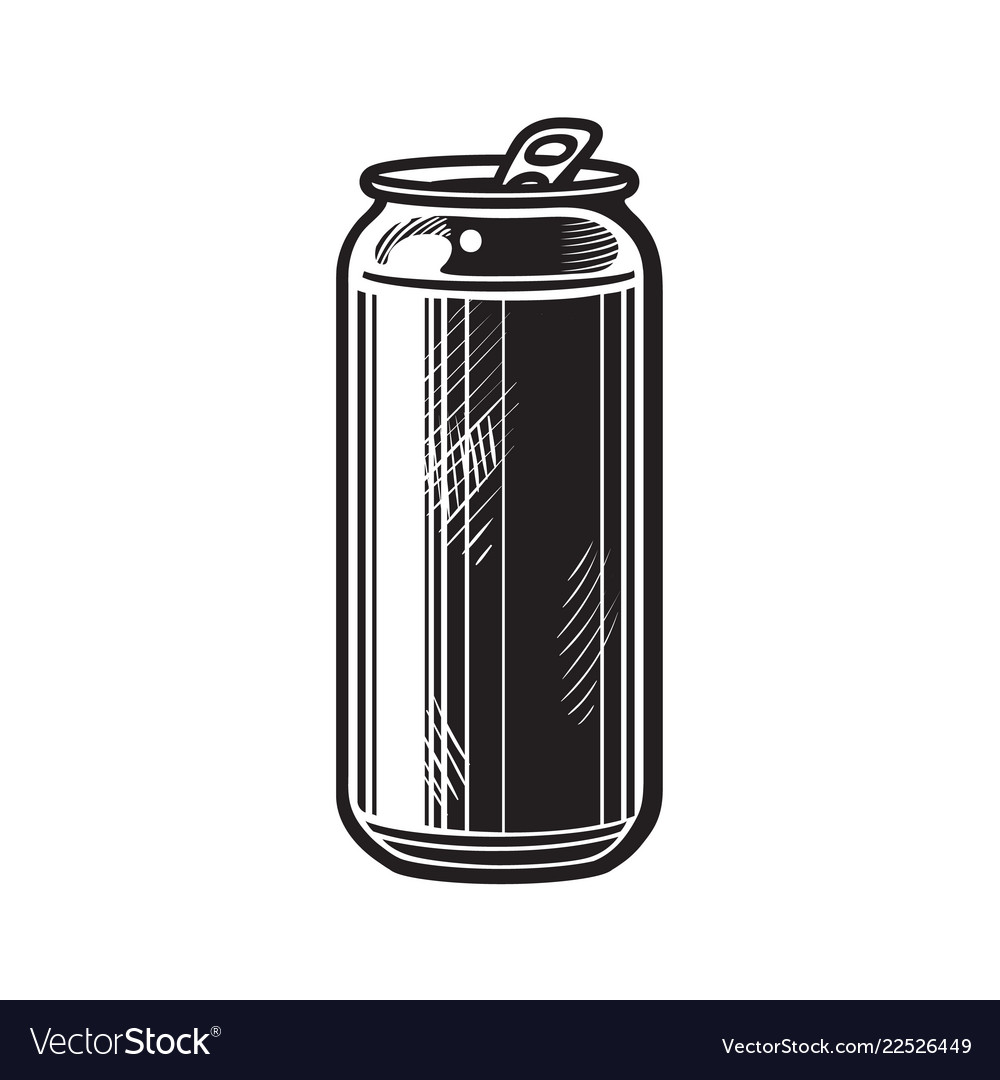Beer can hand drawn isolated.