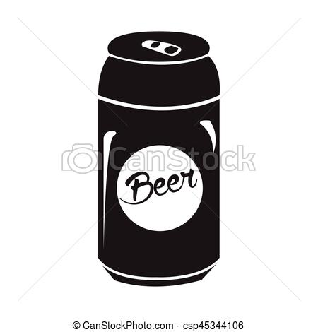 Isolated beer can silhouette.