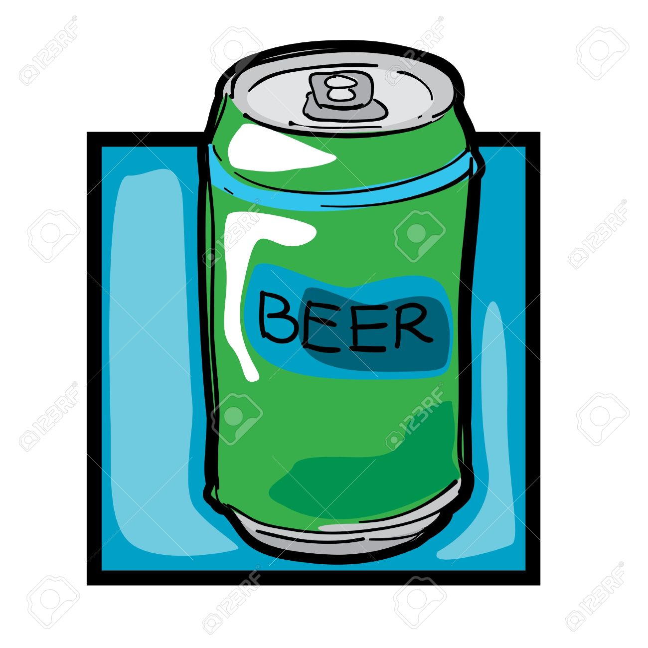 Classic Clip Art Graphic Icon With Beer Can Royalty Free Cliparts.