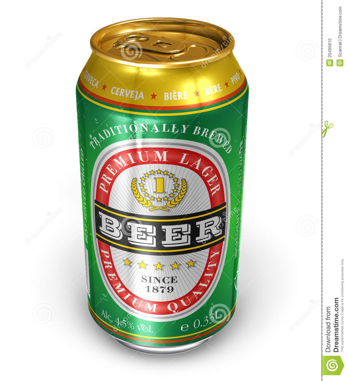 Beer Can Stock Photo.