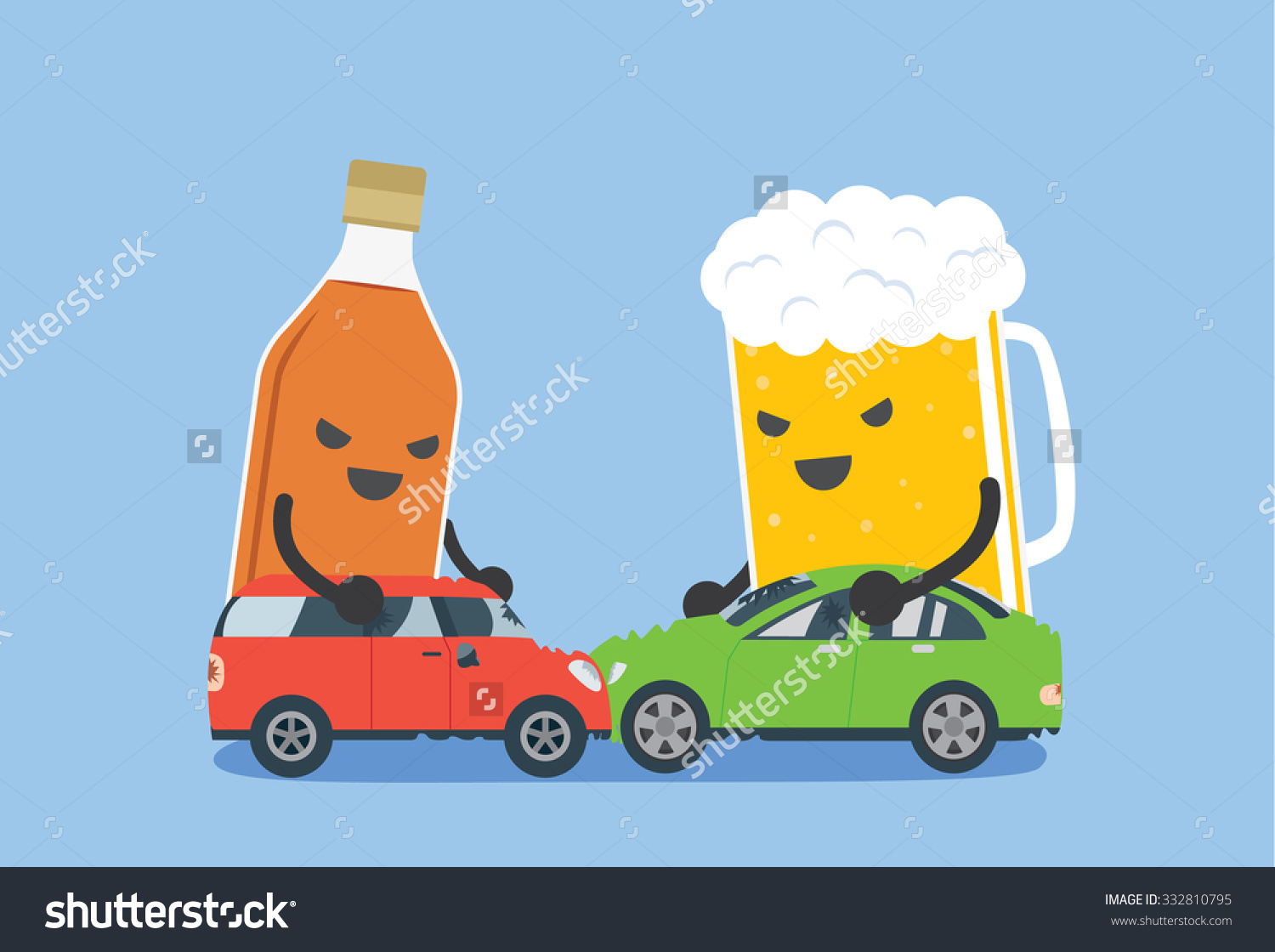 Alcohol Beer Push 2 Cars Make Stock Vector 332810795.