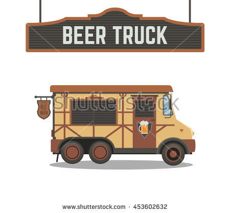 Beer Truck.Vector Cartoon Car..