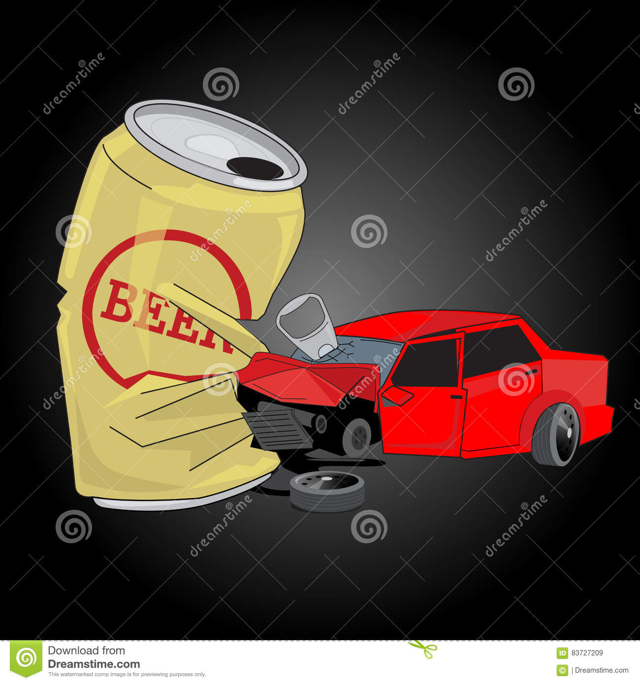 Car Crash With Beer Can. Don`t Drink And Drive Stock Vector.