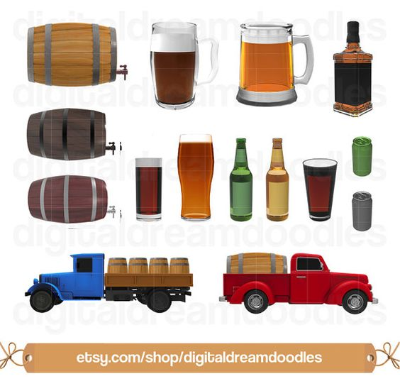 Clipart, Beer Clip Art, Keg Barrel Image, Brewery Truck Graphic.