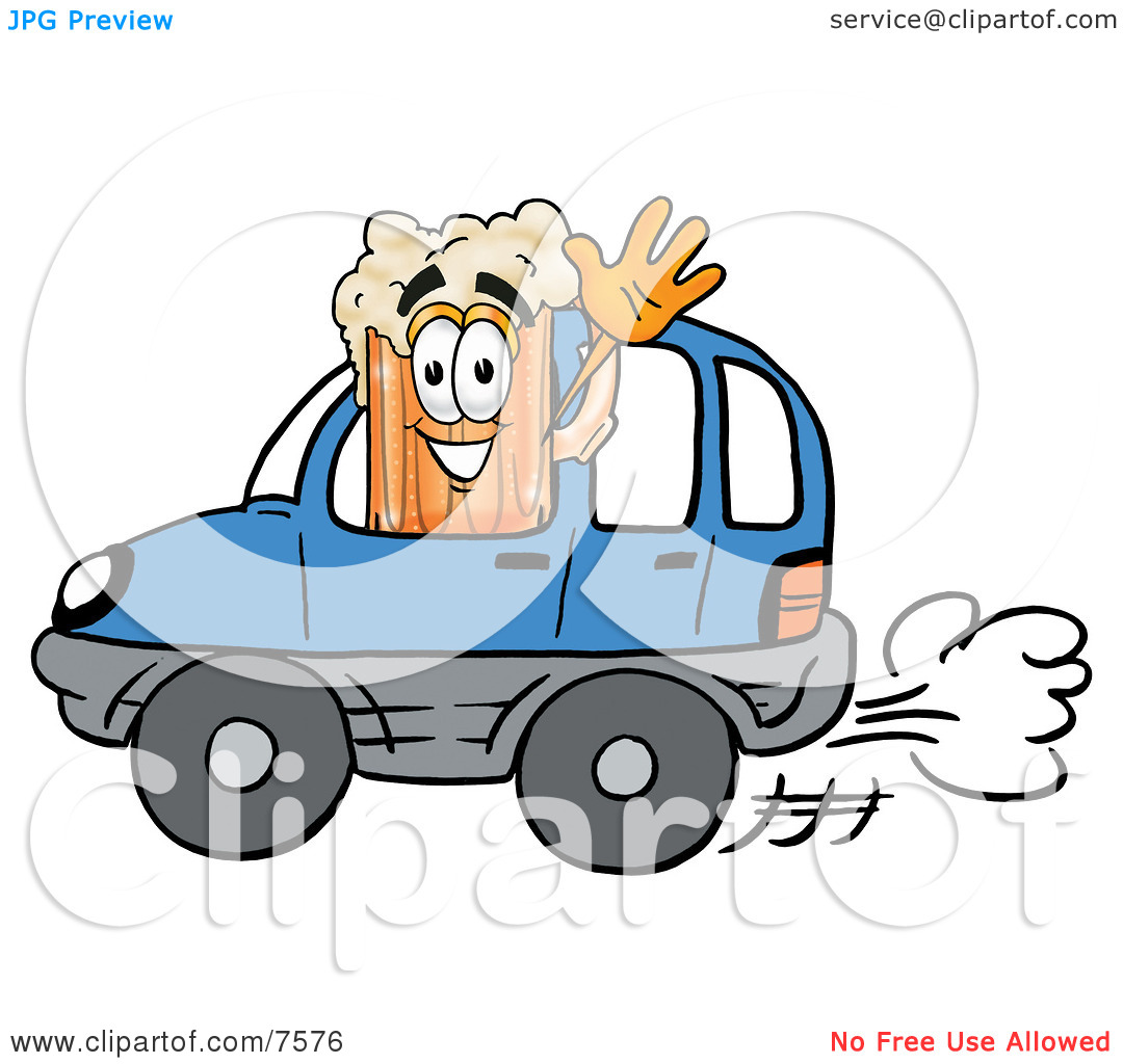 Clipart Picture of a Beer Mug Mascot Cartoon Character Driving a.