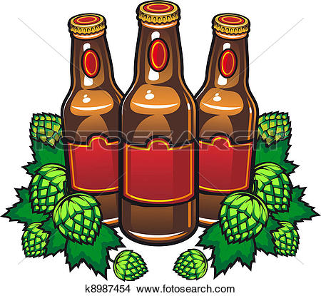 Clipart of Beer bottles and hop k8987454.