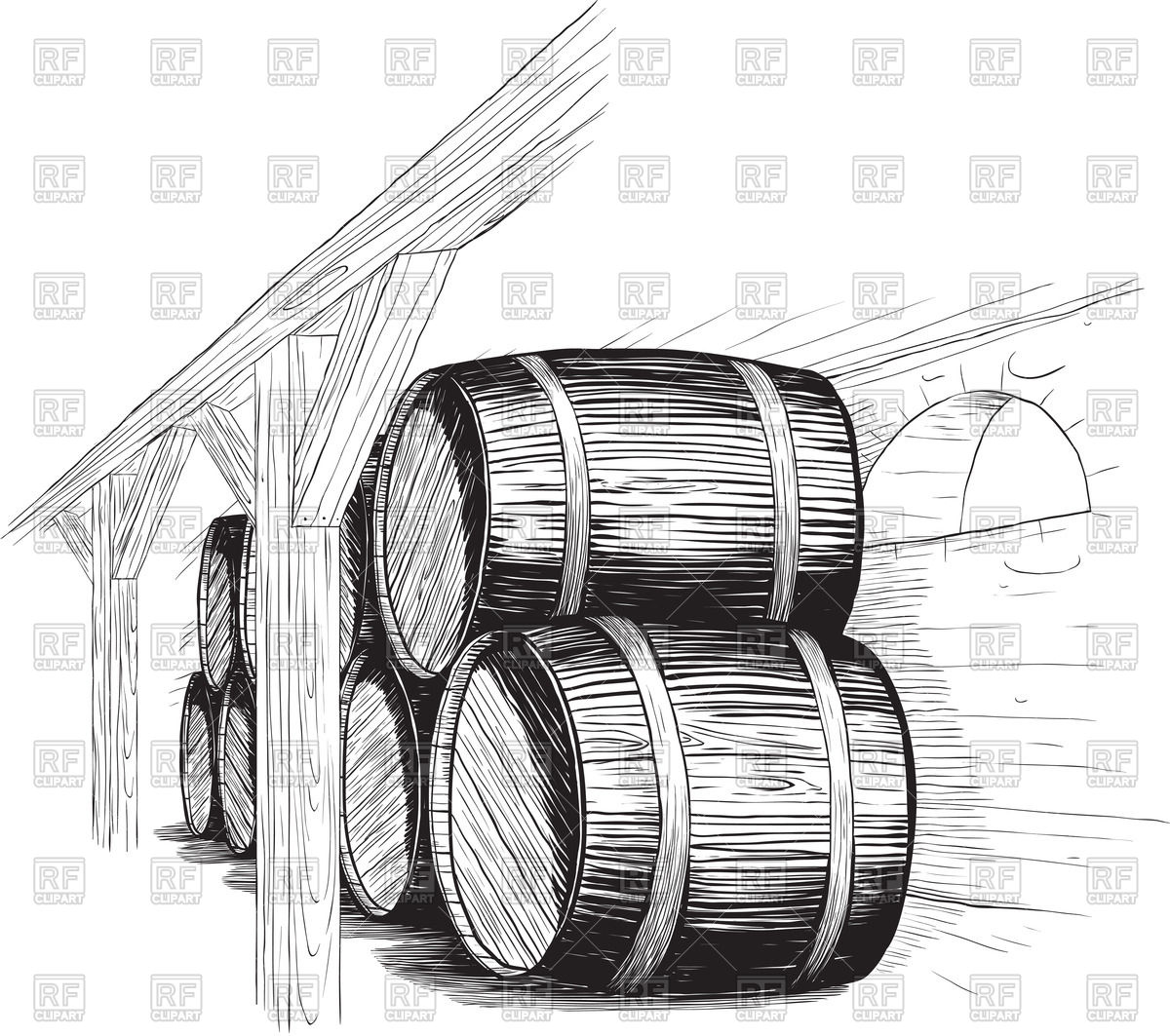 Old wine cellar with rows of wooden barrels Vector Image #60681.