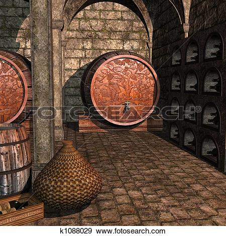 Stock Illustration of Wine Cellar k1088029.