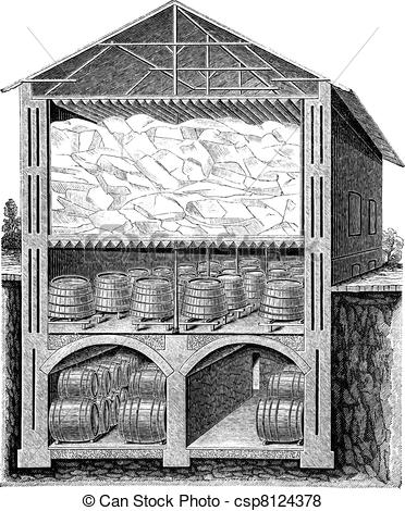 Vector of Iced beer cellar vintage engraving.