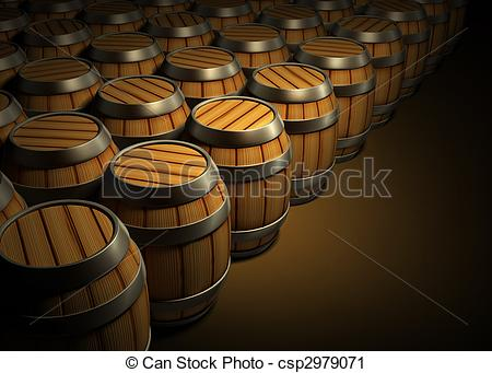 Clipart of wooden barrels for wine and beer storage in dark cellar.