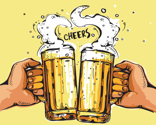 Best Cheers Beer Illustrations, Royalty.