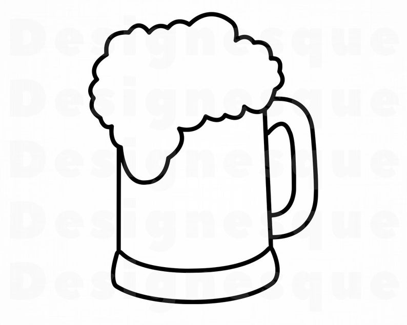 Beer Outline SVG, Beer Mug SVG, Beer SVG, Beer Mug Clipart, Beer Files for  Cricut, Beer Cut Files For Silhouette, Dxf, Png, Eps, Beer Files.