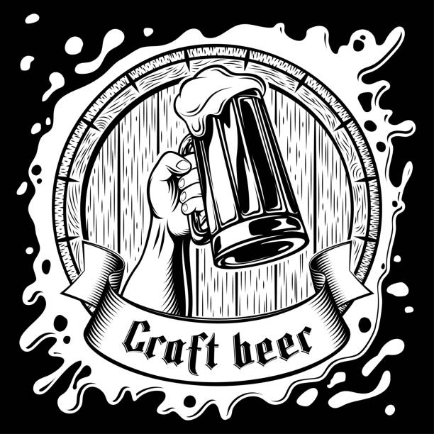 Best Black And White Beer Illustrations, Royalty.