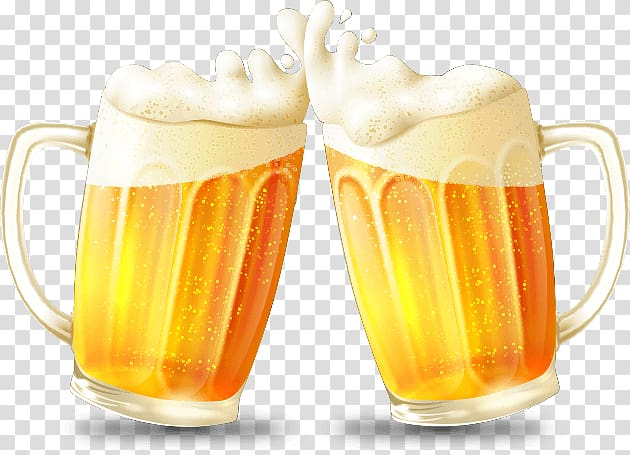 Two beer mug illustration, Beer Cup Euclidean Drink, beer.