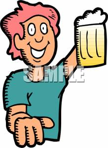 Woman Drinking Beer Clipart.