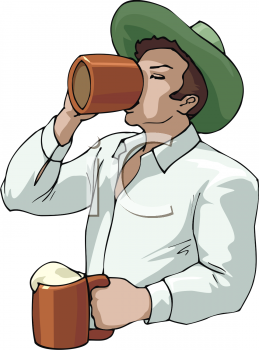 Man Drinking Beer Clipart.