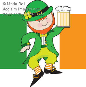 Leprechaun Holding a Mug of Beer with the Irish Flag Clipart Image.