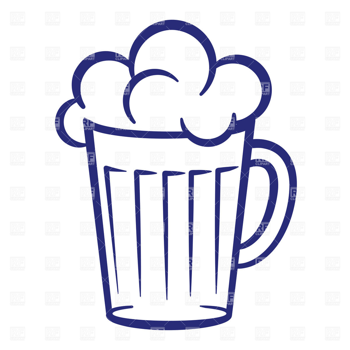 Simple mug of beer with foam Vector Image #6841.