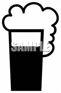 Clipart of Foam Rolling Over a Beer Mug.