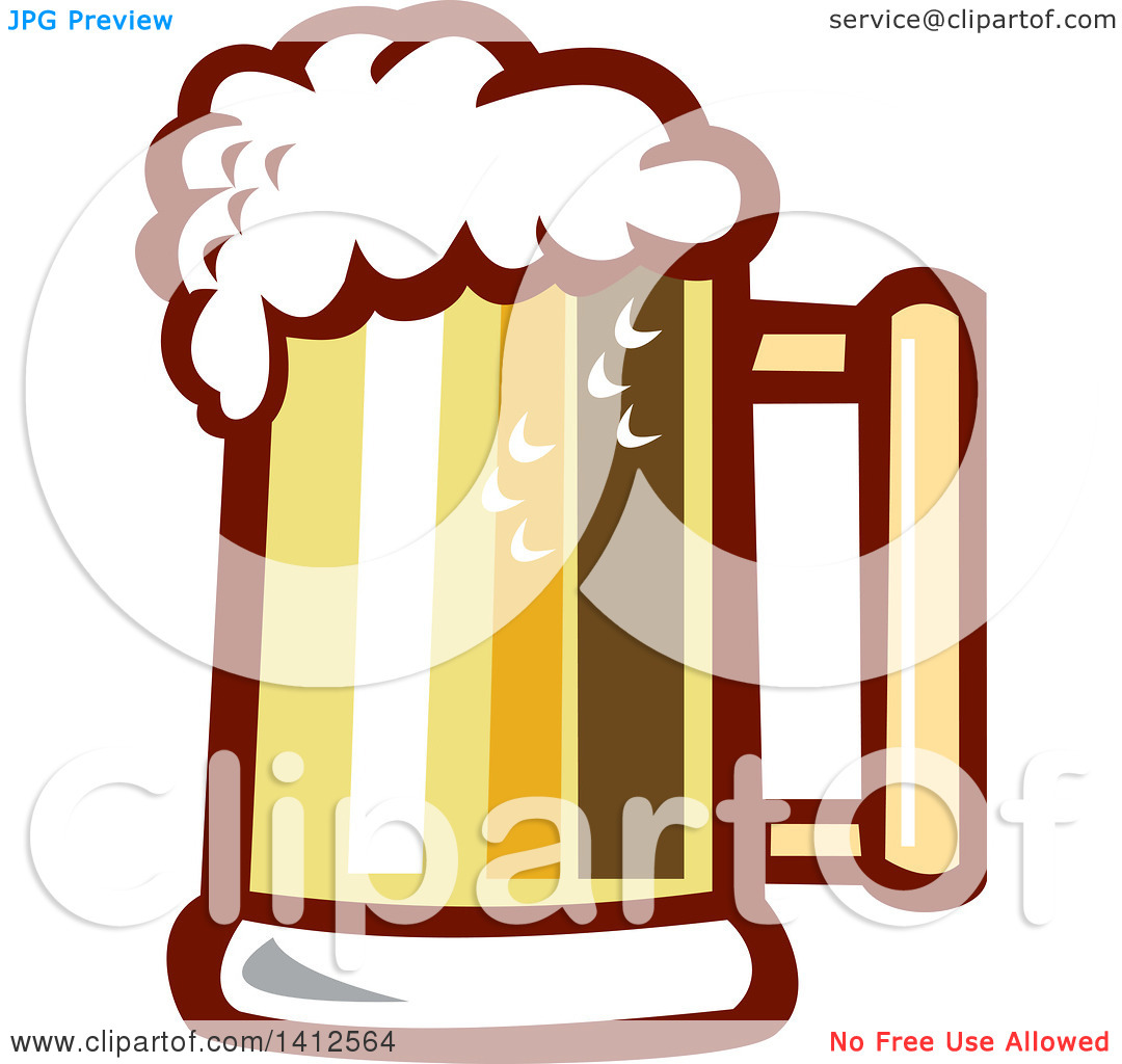 Clipart of a Retro Beer Stein Mug with Foam.