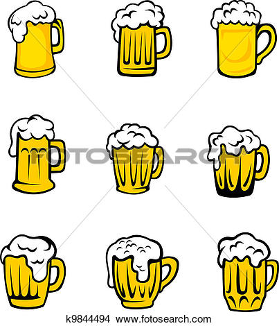 Clipart of Set of beer glasses with fresh foam k9844494.