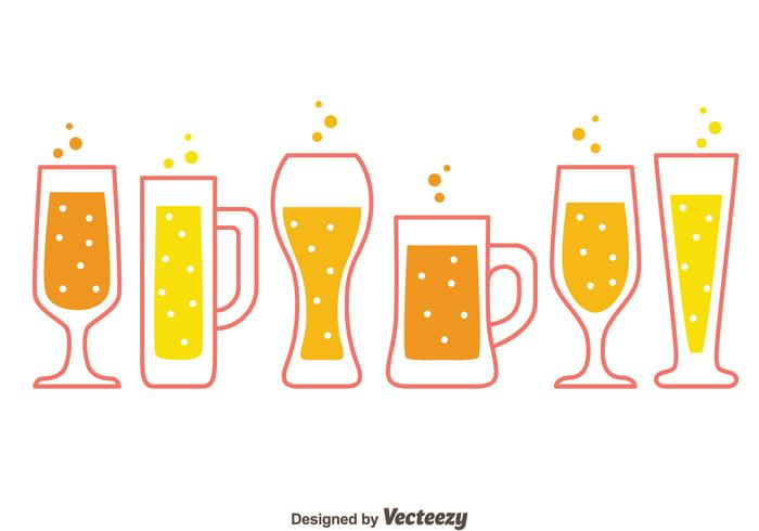 Beer Glasses Collection Vectors.